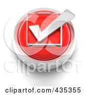 Royalty Free RF Clipart Illustration Of A 3d Red Check Box Button by Tonis Pan