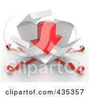 Royalty Free RF Clipart Illustration Of A 3d Red Download Arrow Bursting Out Through A White Box With Red Ribbons