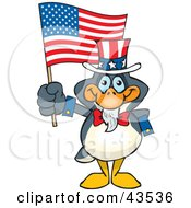 Clipart Illustration Of A Patriotic Uncle Sam Penguin Waving An American Flag On Independence Day by Dennis Holmes Designs