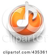 Royalty Free RF Clipart Illustration Of A 3d Orange Music Note Button by Tonis Pan