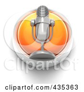 Royalty Free RF Clipart Illustration Of A 3d Orange Microphone Button by Tonis Pan