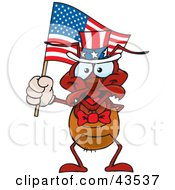 Clipart Illustration Of A Patriotic Uncle Sam Ant Waving An American Flag On Independence Day by Dennis Holmes Designs