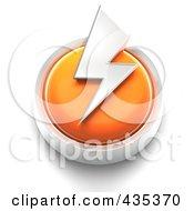 Royalty Free RF Clipart Illustration Of A 3d Orange Thunder Bolt Button