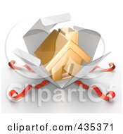 Royalty Free RF Clipart Illustration Of A 3d Gold House Bursting Out Through A White Box With Red Ribbons by Tonis Pan