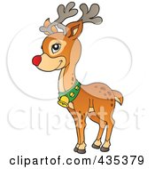 Royalty Free RF Clipart Illustration Of Rudolph The Red Nose Reindeer