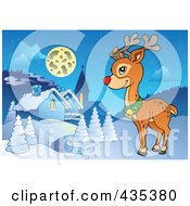 Royalty Free RF Clipart Illustration Of Rudolph The Red Nose Reindeer By A Winter Village