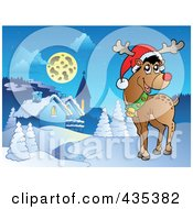 Royalty Free RF Clipart Illustration Of Rudolph The Red Nose Reindeer Near A Winter Village