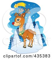 Royalty Free RF Clipart Illustration Of Rudolph The Red Nose Reindeer Under A Shooting Star