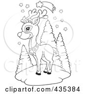 Royalty Free RF Clipart Illustration Of A Coloring Page Outline Of Rudolph The Red Nose Reindeer Under A Shooting Star