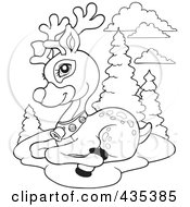 Royalty Free RF Clipart Illustration Of A Coloring Page Outline Of Rudolph The Red Nose Reindeer Resting
