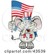 Clipart Illustration Of A Patriotic Uncle Sam Elephant Waving An American Flag On Independence Day by Dennis Holmes Designs