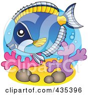 Royalty Free RF Clipart Illustration Of A Logo Of A Powder Blue Tang Marine Fish