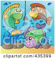 Group Of Fish Around A Worm On A Hook