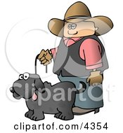 Cowboy Walking Pet Dog On A Leash Clipart