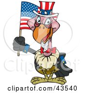 Clipart Illustration Of A Patriotic Uncle Sam Vulture Waving An American Flag On Independence Day by Dennis Holmes Designs