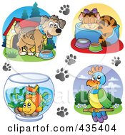 Royalty-Free (RF) Clipart Illustration of a Digital Collage Of Dog, Cat, Goldfish And Parrot Logos by visekart