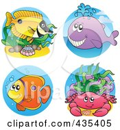 Royalty Free RF Clipart Illustration Of A Digital Collage Of Sea Creatures 4 by visekart