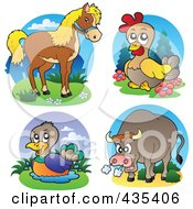 Royalty Free RF Clipart Illustration Of A Digital Collage Of Horse Chicken Duck And Bull Logos by visekart