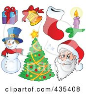 Royalty Free RF Clipart Illustration Of A Digital Collage Of Santa A Snowman Christmas Tree And Other Items