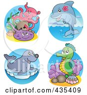 Royalty Free RF Clipart Illustration Of A Digital Collage Of Sea Creatures 3 by visekart