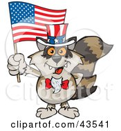 Clipart Illustration Of A Patriotic Uncle Sam Raccoon Waving An American Flag On Independence Day by Dennis Holmes Designs