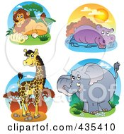 Royalty Free RF Clipart Illustration Of A Digital Collage Of Lion Hippo Giraffe And Elephant Safari Logos by visekart
