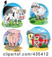 Royalty Free RF Clipart Illustration Of A Digital Collage Of Cow Lamb Pig And Barn Logos
