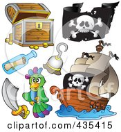 Royalty Free RF Clipart Illustration Of A Digital Collage Of A Treasure Chest Pirate Flag Pirate Ship Hook Message In A Bottle Sword And Parrot by visekart