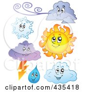 Royalty Free RF Clipart Illustration Of A Digital Collage Of Clouds Rain The Sun And Snowflake