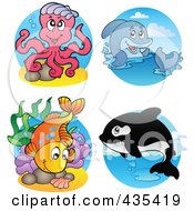 Royalty Free RF Clipart Illustration Of A Digital Collage Of Sea Creatures 1 by visekart
