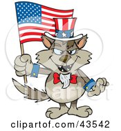 Clipart Illustration Of A Patriotic Uncle Sam Wolf Waving An American Flag On Independence Day