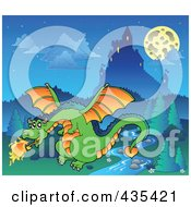 Royalty Free RF Clipart Illustration Of A Dragon Guarding A Castle 4