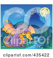 Royalty Free RF Clipart Illustration Of A Dragon Guarding A Castle 3