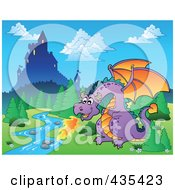 Royalty Free RF Clipart Illustration Of A Dragon Guarding A Castle 1