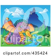 Royalty Free RF Clipart Illustration Of A Dragon Guarding A Castle 2