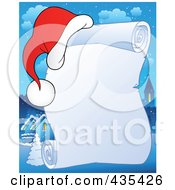 Royalty Free RF Clipart Illustration Of A Frozen Christmas Parchment Scroll With A Santa Hat Over A Village