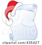 Royalty Free RF Clipart Illustration Of A Frozen Christmas Parchment Scroll With A Santa Hat