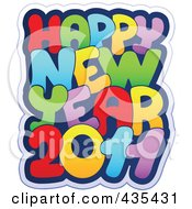 Royalty Free RF Clipart Illustration Of A Colorful Happy New Year 2011 Greeting by visekart