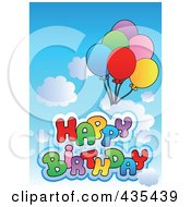 Royalty Free RF Clipart Illustration Of Happy Birthday Text With Balloons In A Cloudy Sky