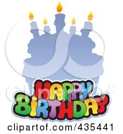 Royalty Free RF Clipart Illustration Of Happy Birthday Text Against A Faded Cake
