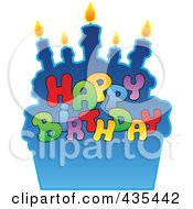 Royalty Free RF Clipart Illustration Of Happy Birthday Text Against A Blue Cake