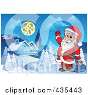 Royalty Free RF Clipart Illustration Of Santa Waving Near A Winter Village