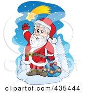 Royalty Free RF Clipart Illustration Of Santa Waving Under A Shooting Star