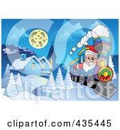 Royalty Free RF Clipart Illustration Of Santa Driving A Train Past A Winter Village