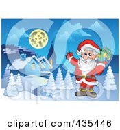 Royalty Free RF Clipart Illustration Of Santa Waving And Holding A Christmas Gift Near A Winter Village