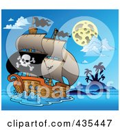 Royalty Free RF Clipart Illustration Of A Pirate Ship Sailing At Night