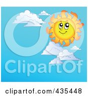 Royalty Free RF Clipart Illustration Of A Happy Sun Over A Blue Sky Background