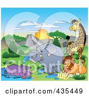 Royalty Free RF Clipart Illustration Of African Animals By A Watering Hole by visekart