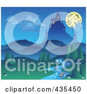 Royalty Free RF Clipart Illustration Of A Full Moon Above A Castle