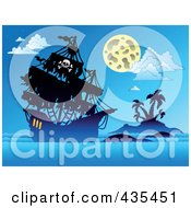 Royalty Free RF Clipart Illustration Of A Ghostly Pirate Ship Sailing At Night